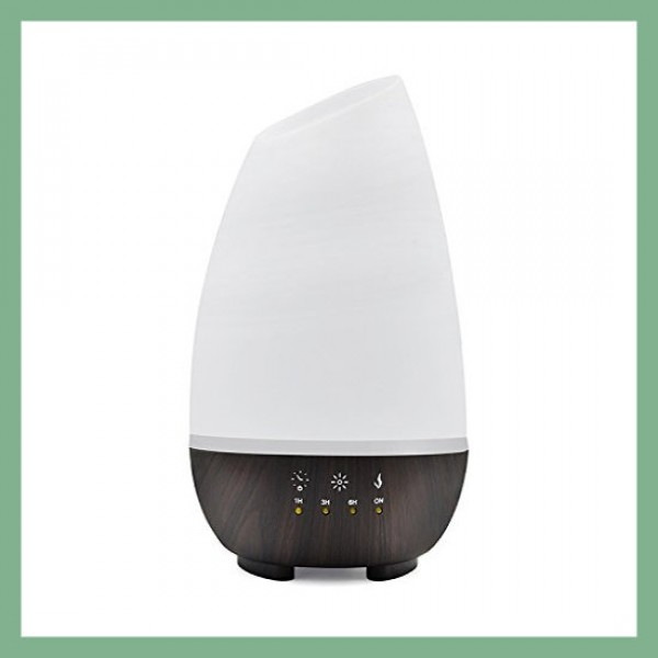 Essential Oil diffuser White/Brown with 7 color LED lights