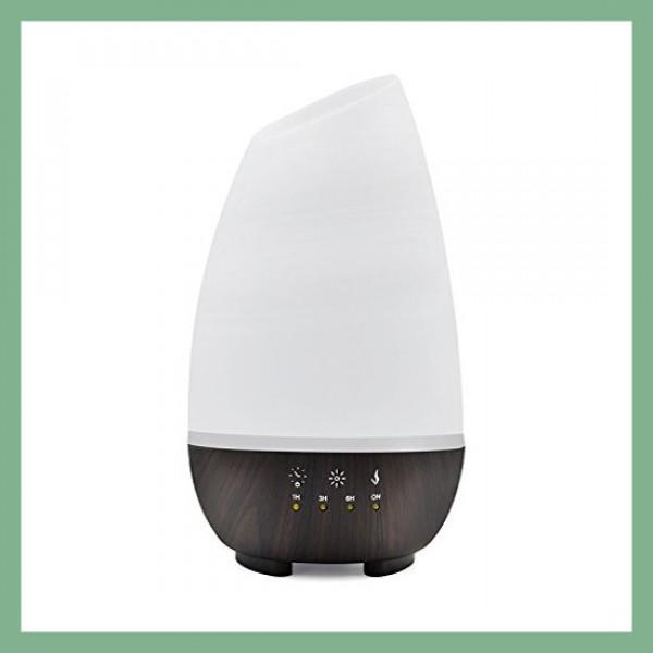 Diffusore di Oli Essenziali Bianco/Marrone a luci LED